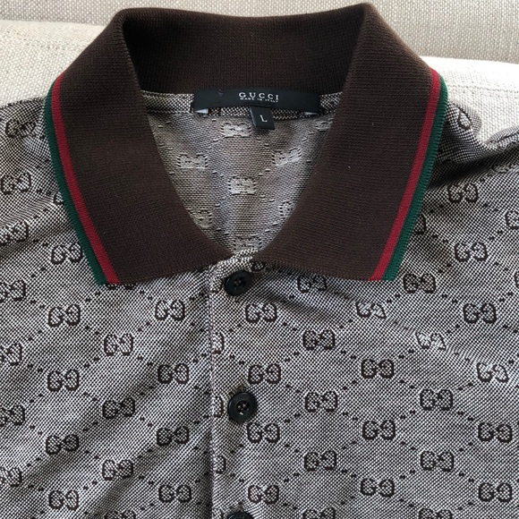 7cd86f94d Gucci Shirts | Mens Vintage Authentic Monogram Polo L | Poshmark